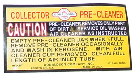 DECAL FOR IH PRECLEANERS / COLLECTORS