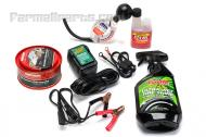 We have assembled this kit to include the items that we commonly use when winterizing a tractor.   We have winterized many tractors over the years and these are the best products that we have found for the job.   1. 6 or 12 volt Float charger- the float charger will keep your battery charged during the winter. Charger automaticlly detects 6 or 12 volts.  - After reaching peak 14.4 VDC, charge automatically switches to 13.2 float voltage - When voltage drops below 12.6 VDC, charging resumes at 14.4 VDC - Two color LED indicates state of charge - Reverse polarity protected and spark proof - 12volt output cord  2. Fuel stabilizer- We use Sta-bil brand fuel stabilizer which prevents gas from turning to turpentine.  3. Tire shine  4. Wax For your paint  5.  Anti freeze tester