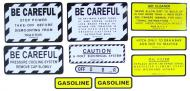 MYLAR MISC DECAL SET -- 9 PIECES  SPECIAL ORDER ONLY. ALLOW ONE ADDITIONAL WEEK FOR DELIVERY CAUTION: INSPECT ALL DECAL PIECES BEFORE APPLYING TO TRACTOR. NO REFUNDS ON MYLAR DECALS IF APPLIED TO SURFACE AND / OR IF DAMAGED. NO REFUNDS ON VINYL CUT DECALS. STORE IN A COOL, DRY PLACE. D  International Applications: IH/FARMALL 340 GAS