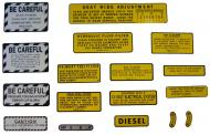 MYLAR MISC DECAL SET -- 15 PIECES  SPECIAL ORDER ONLY. ALLOW ONE ADDITIONAL WEEK FOR DELIVERY CAUTION: INSPECT ALL DECAL PIECES BEFORE APPLYING TO TRACTOR. NO REFUNDS ON MYLAR DECALS IF APPLIED TO SURFACE AND / OR IF DAMAGED. NO REFUNDS ON VINYL CUT DECALS. STORE IN A COOL, DRY PLACE. D  International Applications: IH/FARMALL 560, 660 DEISEL