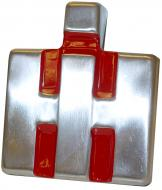 """FRONT EMBLEM   IH BLOCK   STAINLESS W/ RED BACKGROUND, 3"""" W X 3-1/2"""" H   International Applications: 300, 330, 350 ROWCROP & UTILITY   Replacement Part #: 362397R2, 365371R1"""