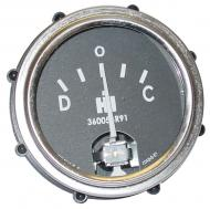 AMP GAUGE  GAUGE HAS A METAL BASE, GLASS LENS & BLACK FACE WITH WHITE LETTERS. INCLUDES THE IH LOGO & PART NUMBER.  CHROME BEZEL  International Applications: CUB (1955 & UP), 100, 130, 140, 200, 230, 240; 300, 330, 340, 350, 400, 450, 460, 560, 600, 650, 660  Replacement Part #: 360053R91