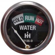 """WATER TEMPERATURE GAUGE   W/ 19\"""" LEAD   METAL BASE, GLASS LENS & BLACK FACE IHC & WHITE LETTERS   INCLUDES IH LOGO & PART NUMBER   International Applications: A, SUPER A, SUPER AV, H, SUPER H, W4, M, SUPER M, SUPER MD, SUPER MTA, W6, WD6, W9, WD9, SUPER WD6, SUPER WD9, I SERIES, O SERIES (1947-54)   Replacement Part #: 67135D"""