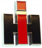 """IH EMBLEM (FOR FRONT EMBLEM OR FOR CAB EMBLEM)  CHROMED AND PAINTED DIE CAST METAL -- 2-13/16"""""""" WIDE  International Applications: FRONT EMBLEM: CUB (SN 210001 & UP), CUB LOBOY (SN 10001 & UP), 140, 154, 184, 185, 240, 340, 460, 560, 660, 666, 686, 766, EARLY 786, 886, 966, 986, 1066, 1086, 1466, 1468, 1486, 1566, 1568, 1586 - LAWN & GARDEN: CUB CADET (UP TO SN 400000) CAB EMB  Replacement Part #: 368523R4"""