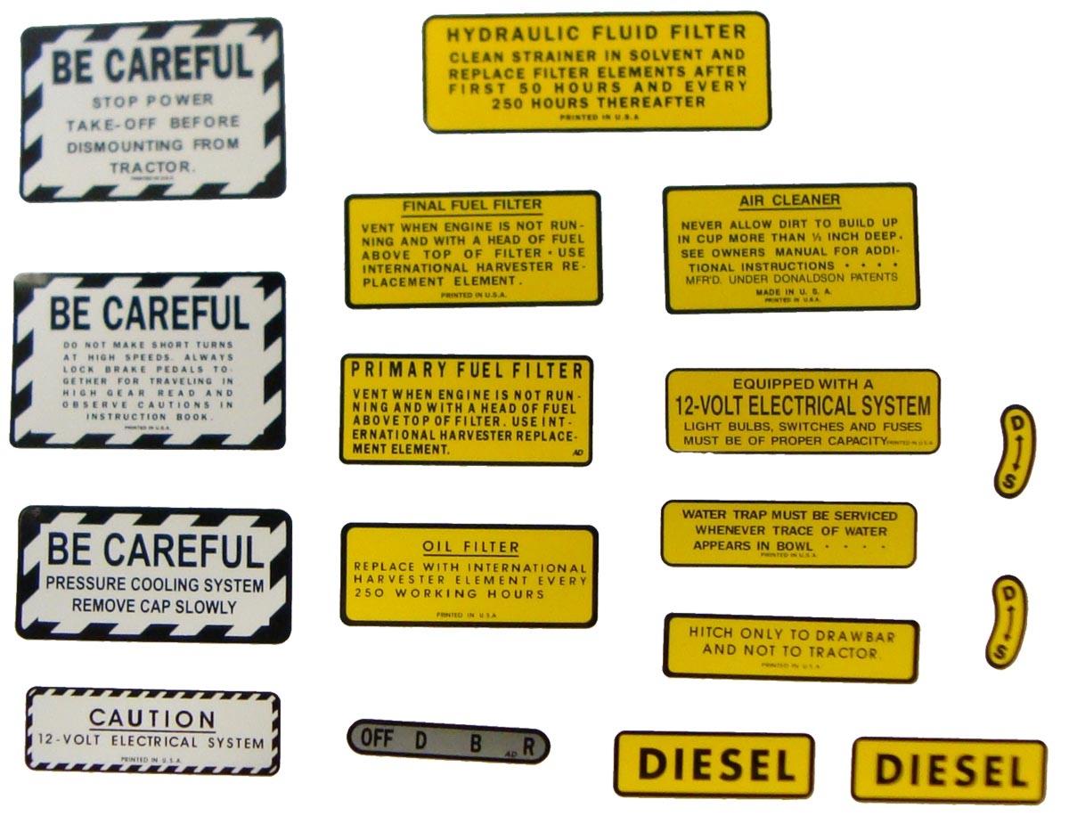 MYLAR MISC DECAL SET -- 17 PIECES - Case IH Parts - Case IH Tractor Parts