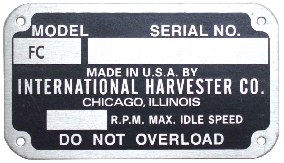 EARLY STYLE SERIAL NUMBER TAG (1939-1949)