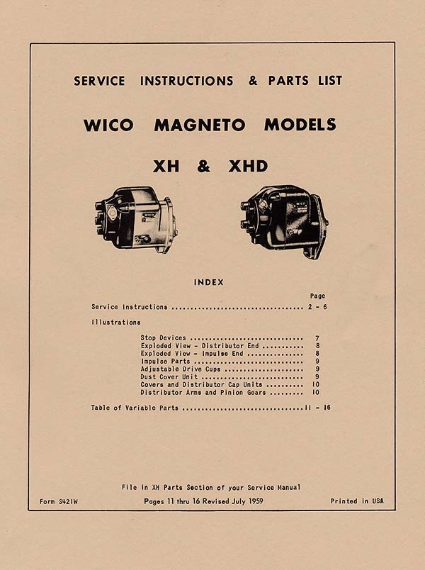WICO XH AND XHD MAGNETO SERVICE (INSTRUCTIONS AND PARTS LIST