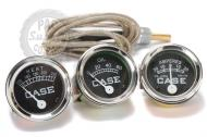 "Brand New Replacement  Gauge (Set)    Case  Tractors  Black face, Chrome Bezel illuminated (12Volt or 6 volt)    Case Tractors C,D,DI,DO,L,LA,LAI,RC,S,SC,SI,SO,400,600         Will Fit Case  following models:  Fits Case C, CC, D, DC, DI, DO, L, LA, LAI, RC, S, SC, SI, SO, 400, 600 1) Temperature Gauge 72"" Lead, 5/8"" -18 UF w/ 1/2 "" NPT Pipe Busing  2) Oil Gauge (0-60 psi)= 1/8"" NPT Male Thread with stud"