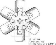 "Fan, 6 Blade Model(s): 730, 830, 930, 940 Dim A (1): 19.25"" dia Dim B (2): 1.375"" pilot hole Dim C (3): 4 mtg holes"