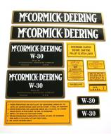 MYLAR DECAL SET  CAUTION: INSPECT ALL DECAL PIECES BEFORE APPLYING TO TRACTOR. NO REFUNDS ON MYLAR DECALS IF APPLIED TO SURFACE AND / OR IF DAMAGED. NO REFUNDS ON VINYL CUT DECALS. STORE IN A COOL, DRY PLACE. DO NOT SOAK IN WATER. DETAILED APPLICATION INSTRUCTIONS ARE I  International Applications: MCCORMICK-DEERING W30