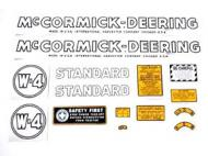 MYLAR DECAL SET  SPECIAL ORDER ONLY. ALLOW ONE ADDITIONAL WEEK FOR DELIVERY CAUTION: INSPECT ALL DECAL PIECES BEFORE APPLYING TO TRACTOR. NO REFUNDS ON MYLAR DECALS IF APPLIED TO SURFACE AND / OR IF DAMAGED. NO REFUNDS ON VINYL CUT DECALS. STORE IN A COOL, DRY PLACE. D  International Applications: MCCORMICK DEERING W4 (1939-1944)