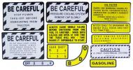 MYLAR MISC DECAL SET -- 13 PIECES  SPECIAL ORDER ONLY. ALLOW ONE ADDITIONAL WEEK FOR DELIVERY CAUTION: INSPECT ALL DECAL PIECES BEFORE APPLYING TO TRACTOR. NO REFUNDS ON MYLAR DECALS IF APPLIED TO SURFACE AND / OR IF DAMAGED. NO REFUNDS ON VINYL CUT DECALS. STORE IN A COOL, DRY PLACE. D  International Applications: IH/FARMALL 300 GAS