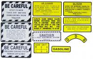 MYLAR MISC DECAL SET -- 12 PIECES  SPECIAL ORDER ONLY. ALLOW ONE ADDITIONAL WEEK FOR DELIVERY CAUTION: INSPECT ALL DECAL PIECES BEFORE APPLYING TO TRACTOR. NO REFUNDS ON MYLAR DECALS IF APPLIED TO SURFACE AND / OR IF DAMAGED. NO REFUNDS ON VINYL CUT DECALS. STORE IN A COOL, DRY PLACE. D  International Applications: IH/FARMALL 330 GAS