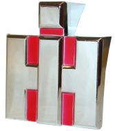 """FRONT EMBLEM   IH BLOCK   CHROME PLATED W/ RED BACKGROUND, DIE-CAST, 3\"""" W X 3-1/2\"""" H   International Applications: 100, 130, 200, 230   Replacement Part #: IH: 362513R1"""