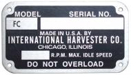 """EARLY STYLE SERIAL NUMBER TAG (1939-1949)  BLANK W/ RIVETS, 2-1/4"""" X 4""""  NOTE: THE """"FC"""" IS ALREADY PRINTED; YOU STAMP YOUR SERIAL NUMBER  International Applications: C (GOES ON SEAT BASE)"""