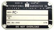 """LATER STYLE SERIAL NUMBER TAG (1950 & UP)  BLANK W/ RIVETS, 2-1/4"""" X 4""""  NOTE: THE """"FC"""" IS ALREADY PRINTED; YOU STAMP YOUR SERIAL NUMBER  International Applications: C (GOES ON SEAT BASE)"""