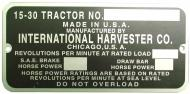 SERIAL NUMBER PLATE 