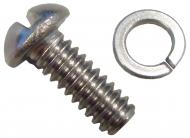 ROUND HEAD SCREW AND WASHER FOR HOOD DOG LEGS (2 PCS)  STAINLESS  4 USED PER DOGLEG  8 USED PER TRACTOR  SOLD INDIVIDUALLY  International Applications: FARMALL CUB (1947-1963), INTERNATIONAL CUB LOBOY (1955-1963)  Replacement Part #: SCREW: 120221 WASHER: 106497, 80684