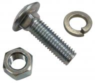 """FRONT WHEEL WEIGHT CARRIAGE BOLT, WAHER & NUT KIT  ZINC  1/2"""" DIAMETER  4 USED PER RIM  SOLD INDIVIDUALLY  International Applications: FOR FRONT WEIGHT ON CUB, CUB LOBOY & FOLLOWING USING 351074R91 FRONT RIM: 154, 184, 185; ALSO FITS AS REAR WEIGHT BOLT ON FOLLOWING CUB CADETS: 70, 71, 72, 73, 86, 100, 102, 104, 105, 106, 107, 108, 109, 122, 124, 125, 126, 127, 128, 129, 147, 149, 169, 8  Replacement Part #: BOLT: 18708R1, 15056R1, 433828, 88530, NUT: 102637, 280431, WASHER: 103323, 80679"""